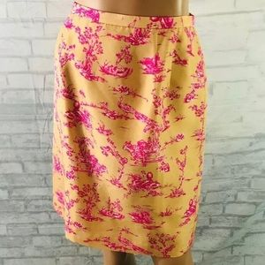 Talbots Pencil Skirt Size 4 Orange Silk Floral